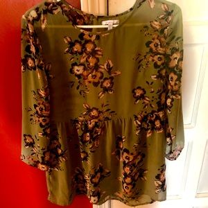 O'Neill Olive Green Floral Peplum Blouse